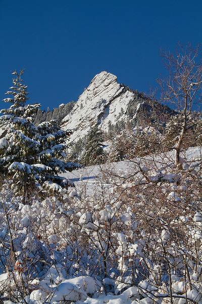 First Flatiron in snow, Chautauqua Park, Boulder, Colorado, .  John leads private photo tours in Boulder and throughout Colorado. Year-round Boulder photo tours.