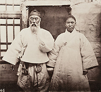BNPS.co.uk (01202 558833)<br /> Pic: ForumAuctions/BNPS<br /> <br /> Pictured: An image of a local elder<br /> <br /> Rarely seen 150 year old photos taken by one of the first British photographers to explore China have emerged for sale for £20,000.<br /> <br /> Scotsman John Thomson (1837-1921) travelled to the Far East in 1868 and established a studio in Hong Kong, using it as a base to explore remote parts of the vast country for the next four years, photographing landmarks, scenery and the native population.<br /> <br /> In many cases, he was the first Westerner the people he photographed had encountered.<br /> <br /> One striking image shows a prisoner in chains with a head poking through a board covered in Chinese symbols, perhaps listing his misdemeanours. In another, a man poses next to a giant camel statue in the grounds around the Ming tombs of the Forbidden City.<br /> <br /> Almost 100 of his photos feature in a rare first edition of 'Thomson Illustrations of China and Its People' (1873), which is going under the hammer with London-based Forum Auctions.