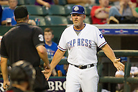 Round Rock Express manager Bobby Jones #31 argues with the umpire during the Pacific Coast League baseball game against the Nashville Sounds on August 26th, 2012 at the Dell Diamond in Round Rock, Texas. The Sounds defeated the Express 11-5. (Andrew Woolley/Four Seam Images).