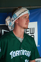 Daytona Tortugas second baseman Blake Butler (16) before a game against the Clearwater Threshers on April 20, 2016 at Bright House Field in Clearwater, Florida.  Clearwater defeated Daytona 4-2.  (Mike Janes/Four Seam Images)