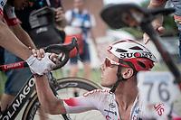 post-finish congratulations for race winner Kenneth Vanbilsen (BEL/Cofidis)<br /> <br /> Dwars door het Hageland 2019 (1.1)<br /> 1 day race from Aarschot to Diest (BEL/204km)<br /> <br /> ©kramon
