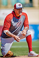 29 February 2020: Washington Nationals Bullpen Coach Henry Blanco warms up catcher Kurt Suzuki prior to a Spring Training game against the St. Louis Cardinals at Roger Dean Stadium in Jupiter, Florida. The Cardinals defeated the Nationals 6-3 in Grapefruit League play. Mandatory Credit: Ed Wolfstein Photo *** RAW (NEF) Image File Available ***