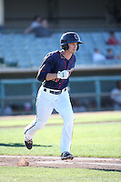 Johnny Sewald (11) of the Lancaster JetHawks runs to first base during a game against the San Jose Giants during the first game of a doubleheader at The Hanger on July 14, 2016 in Lancaster, California. Lancaster defeated San Jose, 3-0. (Larry Goren/Four Seam Images)