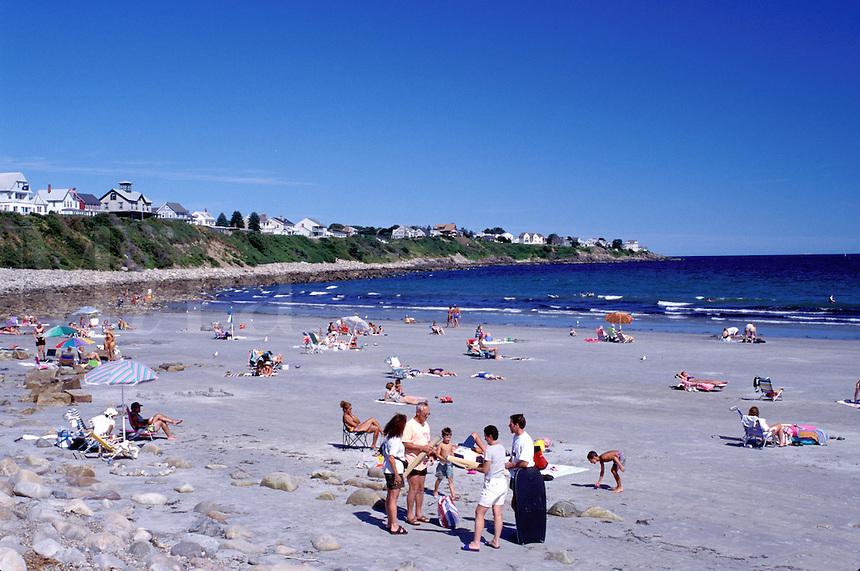 York, ME, Maine, beach, York Beach, People relaxing on York Beach on the Atlantic Ocean in Maine.
