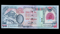 Nepal Currency, 1000 Rupees, front,  Mt. Everest.  Uses Devanagari alphabet.