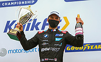 30th August 2020; Knockhill Racing Circuit, Fife, Scotland; Kwik Fit British Touring Car Championship, Knockhill, Race Day; Colin Turkington with his round 11 trophy and champagne