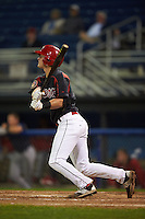 Batavia Muckdogs outfielder Brandon Rawe (22) at bat aduring a game against the State College Spikes August 23, 2015 at Dwyer Stadium in Batavia, New York.  State College defeated Batavia 5-3.  (Mike Janes/Four Seam Images)