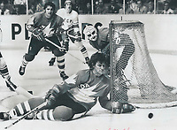 1978<br />  FILE PHOTO - ARCHIVES -<br /> <br /> A great one: Bobby Orr makes life easier for goalie Rogie Vachon in Saturday night's 3-1 victory over the Soviet Union; blocking this shot and generally playing one of the outstanding games o his career. Orr played a double shift in the game; his first against a Soviet team since he played against them as a junior with Oshava Generals; and called it an enormous thrill . . . one of emotional highs of my lilfe.<br /> <br /> Bezant, Graham<br /> Picture, 1978<br /> <br /> 1978<br /> <br /> PHOTO : Graham Bezant - Toronto Star Archives - AQP
