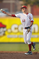 Drew Dahlberg (12) throws to home during the NCAA matchup between the University of Arkansas-Little Rock Trojans and the University of Oklahoma Sooners at L. Dale Mitchell Park in Norman, Oklahoma; March 11th, 2011.  Oklahoma won 11-3.  Photo by William Purnell/Four Seam Images