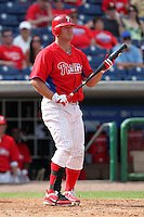 Philadelphia Phillies designated hitter Jim Thome #25 at bat during a scrimmage against the Florida State Seminoles at Brighthouse Field on February 29, 2012 in Clearwater, Florida.  Philadelphia defeated Florida State 6-1.  (Mike Janes/Four Seam Images)