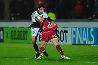 Bryce Heem of Toulon is tackled by Hadleigh Parkes of Scarlets during the European Rugby Challenge Cup Round 5 match between the Scarlets and RC Toulon at the Parc Y Scarlets in Llanelli, Wales, UK. Saturday January 11 2020