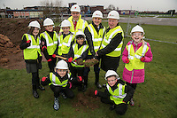 Turning the first sod at the official ground breaking ceremony for the new Flying High Academy standing from left,  Giorgia Hall, Libby Armitage, Richard Charman of Kier Construction, Arman Choudhury, Head Teacher Tony Warsop and Executive Mayor of Mansfield, Tony Eggington, Ellie Simpson-Eyre, Lily Mariott and crouching are McKenzee Bennett-Ross (left) and Casey Smith,