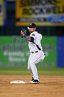 Binghamton Rumble Ponies second baseman L.J. Mazzilli throws to first base during a game against the Altoona Curve on May 17, 2017 at NYSEG Stadium in Binghamton, New York.  Altoona defeated Binghamton 8-6.  (Mike Janes/Four Seam Images)