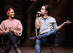 """Sasha Hollinger with Lin-Manuel Miranda makes a surprise appearance during a Q & A before The Rockefeller Foundation and The Gilder Lehrman Institute of American History sponsored High School student #EduHam matinee performance of """"Hamilton"""" at the Richard Rodgers Theatre on 3/20/2019 in New York City."""