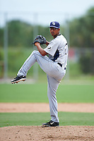 GCL Rays relief pitcher Angel Rodriguez (27) during the first game of a doubleheader against the GCL Red Sox on August 9, 2016 at JetBlue Park in Fort Myers, Florida.  GCL Rays defeated GCL Red Sox 5-4.  (Mike Janes/Four Seam Images)
