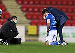 St Johnstone v Motherwell…21.11.20   McDiarmid Park      SPFL<br />Craig Conway leaves the pitch with a busted nose<br />Picture by Graeme Hart.<br />Copyright Perthshire Picture Agency<br />Tel: 01738 623350  Mobile: 07990 594431