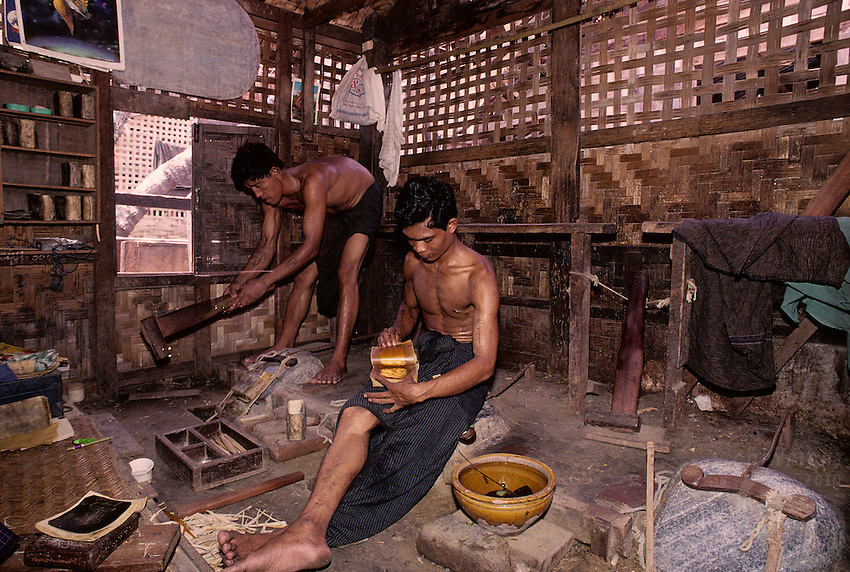 Very traditional way in producing Gold leafes for Monasteries and Temples