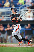Aberdeen Ironbirds shortstop Chris Clare (5) at bat during a game against the Batavia Muckdogs on July 16, 2016 at Dwyer Stadium in Batavia, New York.  Aberdeen defeated Batavia 9-0. (Mike Janes/Four Seam Images)