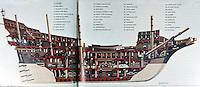 Ships:  Spanish Treasure Galleon, cutaway. Crew of 300 slep in gun deck.