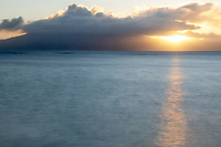 Sunset from Maui. Lanai in background. Maui, Hawaii