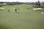 Dubai World Championship Golf. Earth Course,.Jumeirah Golf Estate, Dubai, U.A.E...Adam Scott and  padraig Harrington walking onto the 9th green during the second round of the Dubai World Golf championship..Photo: Fran Caffrey/www.golffile.ie...