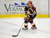 3 January 2009: Ferris State Bulldogs' defenseman Michael Trebish, a Freshman from Yorkton, Sask., in action against the Colgate Raiders during the consolation game of the 2009 Catamount Cup Ice Hockey Tournament hosted by the University of Vermont at Gutterson Fieldhouse in Burlington, Vermont. The two teams battled to a 3-3 draw, with the Bulldogs winning a post-game shootout 2-1, thus placing them third in the tournament...Mandatory Photo Credit: Ed Wolfstein Photo