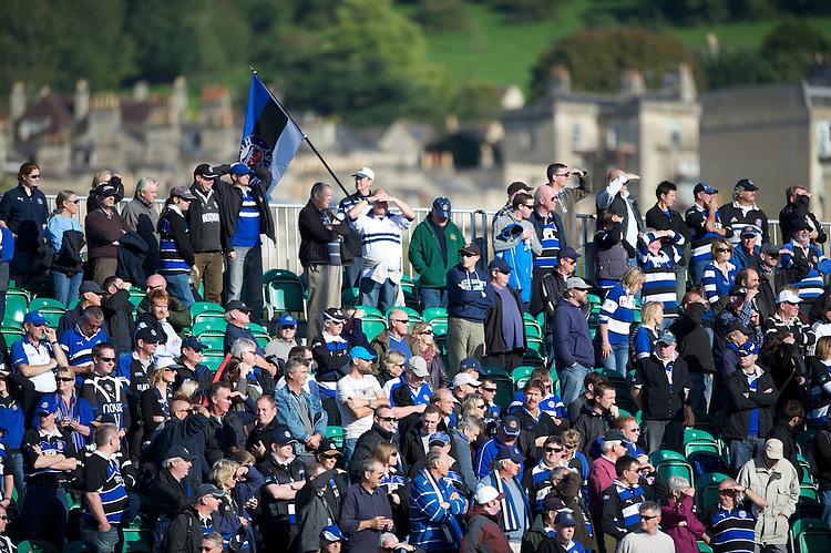 Bath fans say goodbye to Olly Barkley of Bath Rugby during the Aviva Premiership match between Bath Rugby and Sale Sharks at the Recreation Ground on Saturday 29th September 2012 (Photo by Rob Munro)