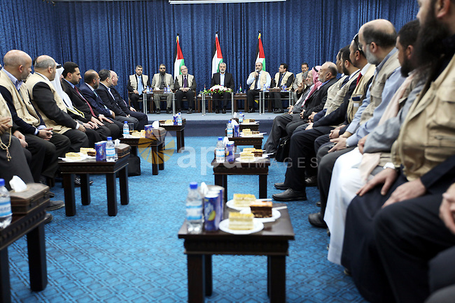 Palestinian Prime Minister in Gaza Strip, Ismail Haniyeh, receives convoy the loyalty to Palestine, in Gaza City on Feb. 28, 2012. Photo by Ahmed Shaat