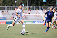 CARY, NC - SEPTEMBER 12: Sophia Smith #9 of the Portland Thorns FC crosses the ball during a game between Portland Thorns FC and North Carolina Courage at Sahlen's Stadium at WakeMed Soccer Park on September 12, 2021 in Cary, North Carolina.