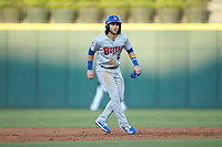 Bo Bichette (13) of the Buffalo Bisons takes his lead off of second base against the Charlotte Knights at BB&T BallPark on July 24, 2019 in Charlotte, North Carolina. The Bisons defeated the Knights 8-4. (Brian Westerholt/Four Seam Images)
