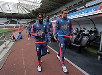 Pictured L-R: Nathan Dyer and Gylfi Sigurdsson of Swansea arrive Sunday 30 August 2015<br /> Re: Premier League, Swansea v Manchester United at the Liberty Stadium, Swansea, UK