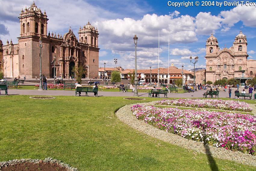 Catedral and Iglesia la Compania, Cuzco Plaza, Peru