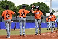 MONTERIA - COLOMBIA, 12-11-2019: Vaqueros de Montería y Gigantes de Barranquilla en partido 4 de la serie 1 de la Liga Profesional de Béisbol Colombiano temporada 2019-2020 jugado en el estadio estadio Dieciocho de Junio de la ciudad de Montería. / Vaqueros de Monteria and Gigantes de Barranquilla in match 4 series 1 as part Colombian Baseball Professional League season 2019-2020 played at Baseball Stadium on June 18 in Monteria city. Photo: VizzorImage / Andres Felipe Lopez / Cont