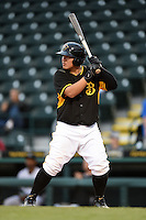 Bradenton Marauders catcher Jin-De Jhang (47) at bat during a game against the Jupiter Hammerheads on April 19, 2014 at McKechnie Field in Bradenton, Florida.  Bradenton defeated Jupiter 4-0.  (Mike Janes/Four Seam Images)