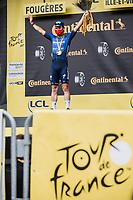 podium: stage winner Mark Cavendish (GBR/Deceuninck-Quick Step)<br /> <br /> Stage 4 from Redon to Fougiéres (150.4km)<br /> 108th Tour de France 2021 (2.UWT)<br /> <br /> ©kramon