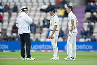 Neil Wagner of. New Zealand asks Richard Illingworth, Umpire about the condition of the ball during India vs New Zealand, ICC World Test Championship Final Cricket at The Hampshire Bowl on 19th June 2021