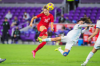 ORLANDO, FL - FEBRUARY 21: Janine Beckie #16 of the CANWNT kicks the ball during a game between Argentina and Canada at Exploria Stadium on February 21, 2021 in Orlando, Florida.