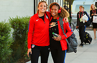 San Jose, CA - Sunday November 12, 2017: Abby Dahlkemper, Casey Short during an International friendly match between the Women's National teams of the United States (USA) and Canada (CAN) at Avaya Stadium.