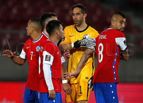 13th November 2020; National Stadium of Santiago, Santiago, Chile; World Cup 2020 Football qualification, Chile versus Peru;  Claudio Bravo and Arturo Vidal of Chile celebrate victory after the match