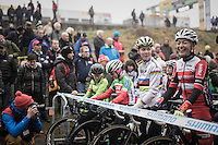 Women's start line with CX World Champion Thalita de Jong (NED/Rabo-Liv) & a relaxed/laughing Sophie de Boer (NED)<br /> <br /> UCI Cyclocross World Cup Namur/Belgium 2016