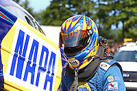 Aug. 1, 2014; Kent, WA, USA; NHRA funny car driver Ron Capps during qualifying for the Northwest Nationals at Pacific Raceways. Mandatory Credit: Mark J. Rebilas-