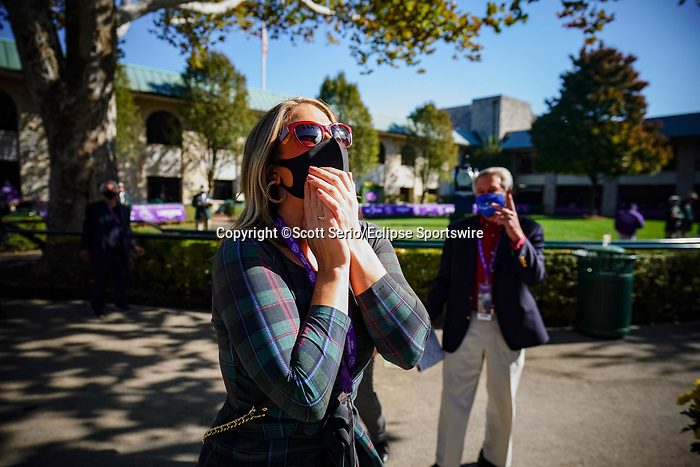 November 6, 2020: An attendee reacts to a race at Keeneland Racetrack in Lexington, Kentucky, on Friday, November 6, 2020. Scott Serio/Eclipse Sportswire/Breeders Cup/CSM