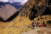 Inca Trail, Peru. Trekkers on Inca Trail from Llulluchapampa to Warmiwanusca.