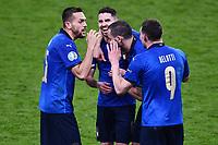 6th July 2021; Wembley Stadium, London, England; Euro 2020 Football Championships semi-final, Italy versus Spain; Italian players celebrate their win