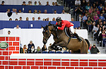 August 08, 2009: Peter Postelmans (NED) aboard Ajoor competing in the Puissance event. Land Rover International Puissance. Failte Ireland Horse Show. The RDS, Dublin, Ireland.