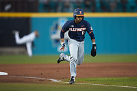 TaylorJackson (15) of the Illinois Fighting Illini hustles towards home plate against the Coastal Carolina Chanticleers at Springs Brooks Stadium on February 22, 2020 in Conway, South Carolina. The Fighting Illini defeated the Chanticleers 5-2. (Brian Westerholt/Four Seam Images)
