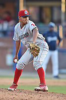 Lakewood BlueClaws pitcher Keivi Rojas #36 delivers a pitch during a game against the Asheville Tourists at McCormick Field on May 3, 2014 in Asheville, North Carolina. The BlueClaws defeated the Tourists 7-4. (Tony Farlow/Four Seam Images)