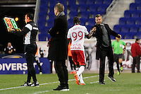 Harrison, NJ - Wednesday Feb. 22, 2017: Bradley Wright-Phillips, Jesse Marsch during a Scotiabank CONCACAF Champions League quarterfinal match between the New York Red Bulls and the Vancouver Whitecaps FC at Red Bull Arena.