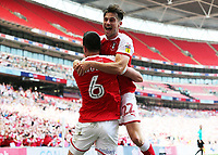 27th May 2018, Wembley Stadium, London, England;  EFL League 1 football, playoff final, Rotherham United versus Shrewsbury Town;  Richard Wood of Rotherham United celebrates with Joe Newell of Rotherham United after scoring his sides 1st goal in the 31st minute to make it 1-0