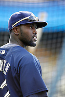 Tony Gwynn,jr of the Milwaukee Brewers during batting practice before a game from the 2007 season at Dodger Stadium in Los Angeles, California. (Larry Goren/Four Seam Images)